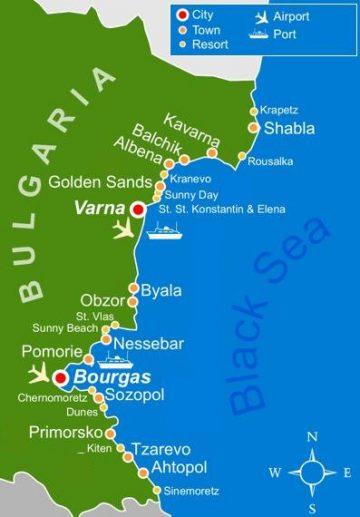 Bulgarijos paplūdimių žemėlapis