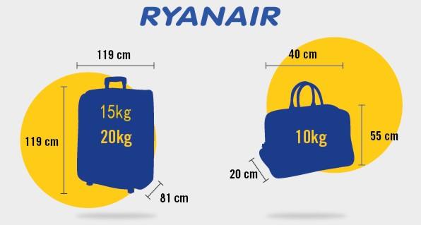 Ryanair nustatyti rankinio ir registruoto bagažo dydžio bei svorio apribojimai