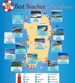 Žymiausių Sardinijos paplūdimių žemėlapis
