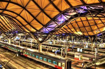 Melburno traukinių stotis. Melbourne Southern Cross Station, Australija