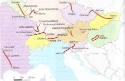 Vaizdingų maršrutų Europoje, keliaujant traukiniais, žemėlapis