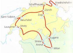 Traukinių maršruto pro Alpių ežerus žemėlapis