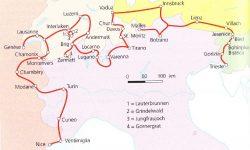 Maršruto po Alpių viršūnes žemėlapis