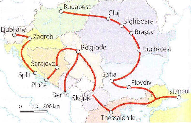 Traukinių maršruto po Balkanus žemėlapis