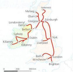 Traukinių maršruto po Angliją ir Airiją žemėlapis