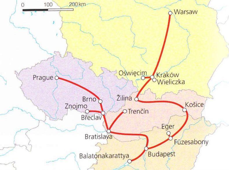 Traukinių maršruto po Centrinę Europą žemėlapis