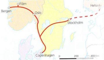 Kelionės po Skandinaviją traukiniu žemėlapis
